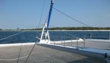 Sailing in Cuba - the catamaran's bow, by Yvonne Gordon