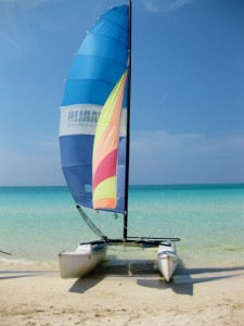 The resort's dinghy that Yvonne sailed on, by Yvonne Gordon